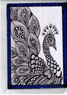 56 Ideas For Tattoo Mandala Design Zentangle Doodle Art Drawing, Cool Art Drawings, Zentangle Drawings, Mandala Drawing, Pencil Art Drawings, Art Drawings Sketches, Bird Drawings, Nature Drawing, Zentangle Patterns