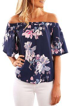 ea384fae7c8 Navy Floral Print Half Sleeve Off Shoulder Blouse
