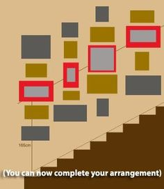 How to arrange a balanced photo gallery up your staircase (red frames are on the baseline, with the centres of each touching the baseline), how to hang pictures Picture Arrangements, Photo Arrangement, Black And White Stairs, Staircase Pictures, Cuadros Diy, Stairway Decorating, Picture Layouts, Diy Décoration, Hanging Pictures