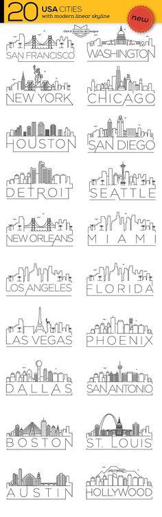 20 USA Cities Linear Skyline – Schriftarten, Grafiken, Themen, Templat … Source by Doodles, Usa Cities, Photoshop, Grafik Design, Art Plastique, Journal Inspiration, Icon Set, Clipart, Painting & Drawing