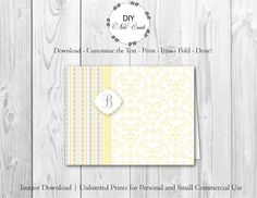 Chic Lemon Floral - DIY Printable Monogram Note Card Template - Add Text, Print, Trim, Fold, Done! Unlimited Personal Prints. MCS.0097 by DIYNotecards on Etsy