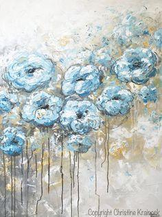 ORIGINAL gran arte aceite pintura abstracta azul blanco flores