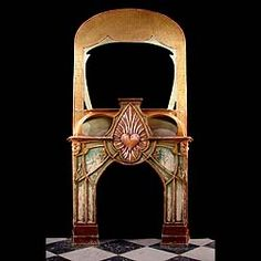 An unusual polychrome Art Nouveau chimneypiece and overmantel, somewhat in the manner of  the French architect and interior designer, Hector Guimard, designer of the Paris Metro entrances. French, circa 1900 (photo before restoration).