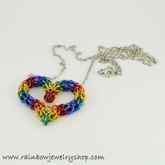 Woven with lightweight aluminum rings, this necklace is on a 20 inch chain, but can be adjusted to suit.