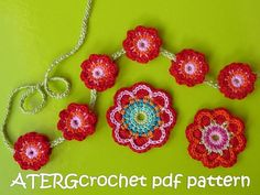 Etsy: Crochet pattern triple flower power by ATERGcrochet