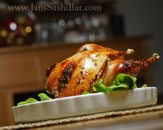 Honey-Lemon Roast Pheasant.  Whole pheasant is basted with lemon, honey and thyme and roasted to tender perfection.