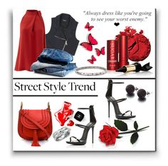 """""""Some Like it Hot, I Like it Red"""" by deborah-simmons ❤ liked on Polyvore featuring Theory, Chanel, Inglot, Fresh, Giuseppe Zanotti, Bourjois, Chloé, Ross-Simons, Blue Nile and SHIMLA"""