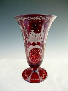 Egermann cranberry glass vase cut to clear Stag and Castle Bohemian c. Turn Of The Century