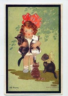 """""""All Purrs"""" ~ Vintage Agnes Richardson postcard"""