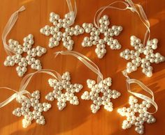 DIY Beaded snowflakes http://www.beadjewelrymaking.com/Kid_Art_Project/Kid_art_bead_project/march2006kid_bead_project.html