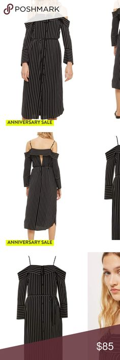 NWT!! TOPSHOP Midi Shirt Dress NWT NWT TOPSHOP Pinstripe Midi Shirtdress (sold out on Nordstrom anniversary sale).  Size US 6. Off the shoulder cut out black and white striped button down shirt dress. 3/4 sleeves. Tie waist. Tags still on never worn. All offers are considered and I offer a bundle discount if you purchase more than 1 item 😘 Topshop Dresses Midi