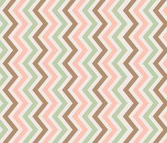 crib skirt: peach, mint, and brown chevron fabric by norasbows on Spoonflower - custom fabric