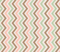 crib skirt: peach, mint, and brown chevron fabric by norasbows on Spoonflower - custom fabric
