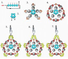 Free pattern for pretty beaded earrings Floweret.  U need:  seed beads 11/0  round beads 3-4 mm