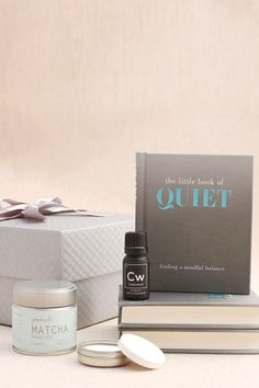 Aromatherapy Curated Gift Box by Pumeli. Features serene sundries for finding a mindful balance, calming cedarwood essential oil distilled in India, portable amakusa porcelain aroma stones, and organic Japanese matcha powder. #curatedgifts