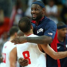 LeBron James post Olympic opponent beat down, gives a hug at #London2012 via @Olympics
