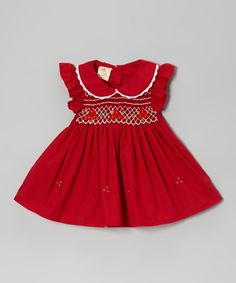 Red Floral Peter Pan Ruffle Sleeve Smocked Dress