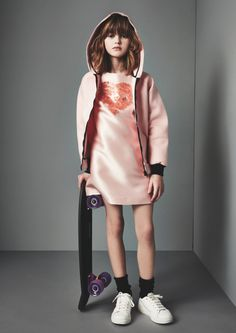 Satin shine for girls partywear at MSGM for winter/holiday 2015