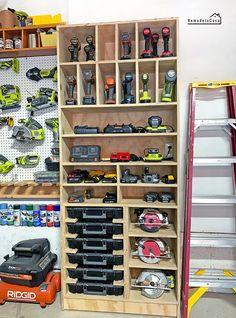 Garage Organization - Charging Station + Tool Storage Cabinet Garage Organization - Charging Station + Tool Storage Cabinet DIY - Charging station + Tool Storage cabinet Charging station + Tool storage = An organized shop -