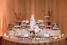 Gold Glitter| Bride and Groom| Head Table| Hands on Sweets| Wedding Cakes Dessert Display| Brigadeiro| Tampa, FL