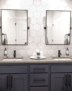 Double Sink Bathroom Vanity Makeover - Come see what this bathroom looked like before! This double sink vanity was just a basic builder gr - Bathroom Vanity Designs, Bathroom Vanity Makeover, Bathroom Sink Vanity, Bathroom Ideas, Washroom, Bathroom Hacks, Bathroom Goals, Bath Vanities, Bad Inspiration
