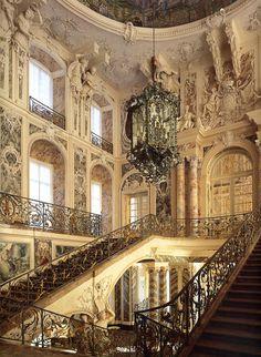 World Heritage Site: Bruhl, Germany: Augustusburg Castle Interior 1744