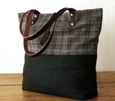 This Handmade Wool Tote Bag in Dark Military Green and Plaid with leather handles is the perfect carryall for your everyday essentials during this