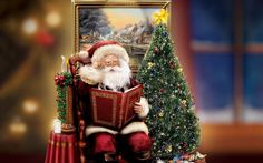 Santa Claus with Christmas Tree image Wallpaper