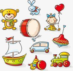 вектор мультфильм детские игрушки, мультфильм детские игрушки, детские игрушки, игрушкаPNG и вектор