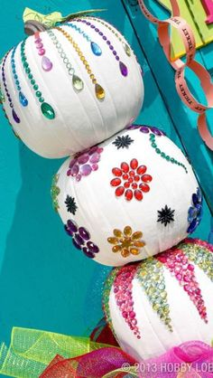 Get creative with 25 different unique ways to decorate Halloween pumpkins, including a DIY for a sparkly white pumpkin covered in sparkly gems. Pumpkin Art, Pumpkin Crafts, Fall Crafts, Pumpkin Carving, Holiday Crafts, Holiday Fun, Pumpkin Ideas, Pumpkin Designs, Pumpkin Painting