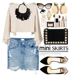 """""""Mini Skirt"""" by oshint ❤ liked on Polyvore featuring Mother, Monies, Tomasini, Tory Burch, NARS Cosmetics, Chanel, Clarins, Cutler and Gross, Pomellato and Michael Kors"""