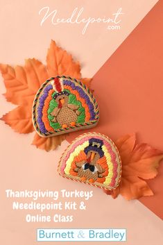 These adorable turkeys are the perfect project to learn new stitches and techniques! Needlepoint Kits, Needlepoint Canvases, Thanksgiving Turkey, Fall Decorations, Stitches, Crochet Earrings, Hand Painted, Beads, Projects