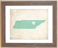 Tennessee Love State Customizable Art Print. $16.00, via Etsy.