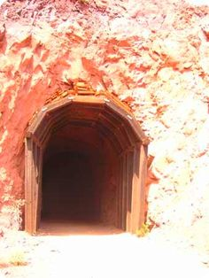 Railroad tunnel dug through the mountain so that construction material for Hoover Dam could be delivered to the site.