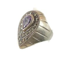 Amethyst & Marcasite Sterling Silver Ring  by InVintageHeaven, $35.00