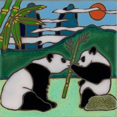 Hand painted ceramic tile Panda Bears original by PacificBlueTile