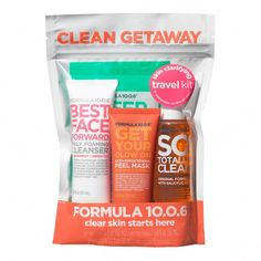 FORMULA 10.0.6. Clean Getaway Skin Clarifying Travel Kit #ClearSkinProducts Charcoal Mask Benefits, Pore Cleanser, Best Face Products, Skin Products, Travel Kits, Skin Brightening, 1 Oz, Clear Skin, Travel Size Products