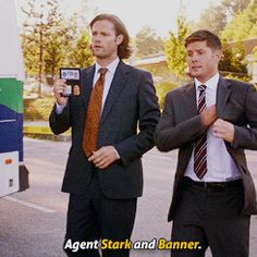 [gifset] Agents Stark and Banner  #Supernatural #DevilMayCare  9.02 Best names ever!!!