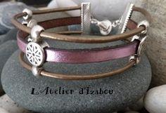 Bracelet multirangs cuir rose et bronze métallic - bracelet - L'Atelier d'Izabou - Fait Maison