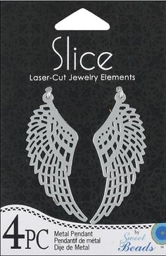 Shop   Category: Charms   Product: Slice Pendant Metal Wing Silver 4 piece
