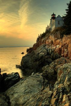 Sunset, Bass Harbor Light House ~ Maurice huang Acadia, Maine