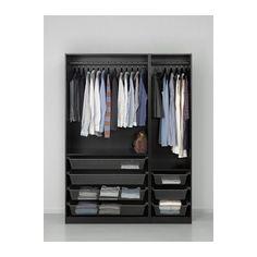 Open closet system pax wardrobe ideas for 2019 Pax System, Closet System, Pax Corner Wardrobe, Ikea Pax Wardrobe, Black Wardrobe, Dark Wood Bedroom Furniture, Black Painted Furniture, Closet Bedroom, Closet Space
