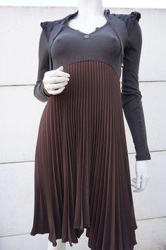 Robe DRESS COP COPINE Taille 36 PIMEnt Chocolat PLISSée evasée Empire