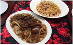 Beef Sirloin and Pork Liver Steak and Kinilaw na Puso ng Saging Recipe