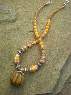 Tibetan Amber Necklace by Maggie Zee