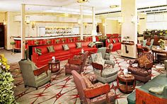 RMS Queen Elizabeth - 1939 - After Refitting ~ There is no doubt that the Cabin Class Main Lounge received a huge overhaul and is almost unrecognisable from the original, although you know it is the same room from the pillars and flat room dividers, etc.