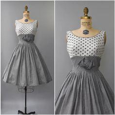 1950's black gingham rosette dress small/medium