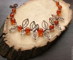 "awesome DIY Bijoux - Making jewelry from old beads ""Autumn leaves"" - Fair Masters - handmad..."