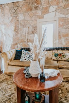 Gold Vintage Couch, Coffee Table, White Vase, Blue Jar, Blue Lanterns, Pampas Grass  P.C. Misty Mclendon Photography Blue Lantern, Texas Hill Country, Pampas Grass, Tree Lighting, White Vases, Twinkle Lights, Lanterns, Wedding Venues, Table Settings