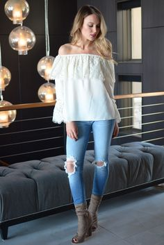 Amore Off the Shoulder Lace Ruffle Top
